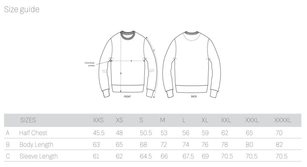 Ethics Clothing - Size Guide