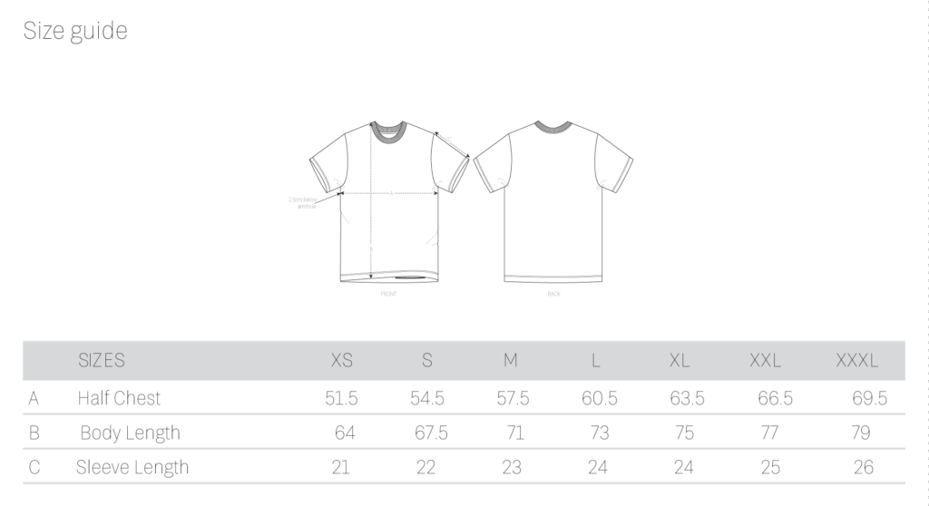 ethics t-shirt size guide