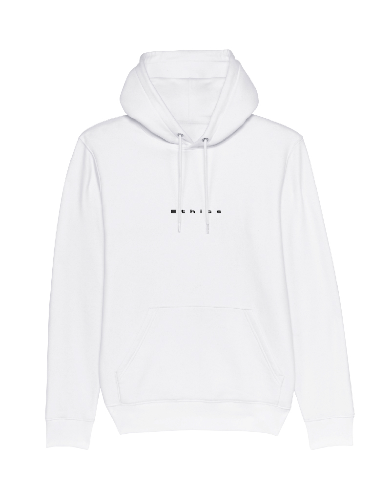 Ethics Hoodie Single not sorry white front