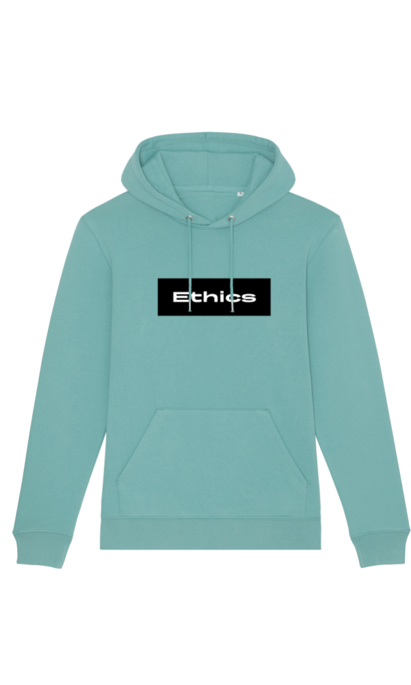 Ethics hoodie basics the greenery teal light front
